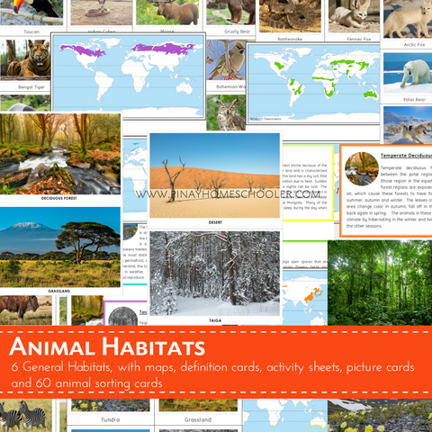 Montessori Inspired Animal World Habitats Learning Pack