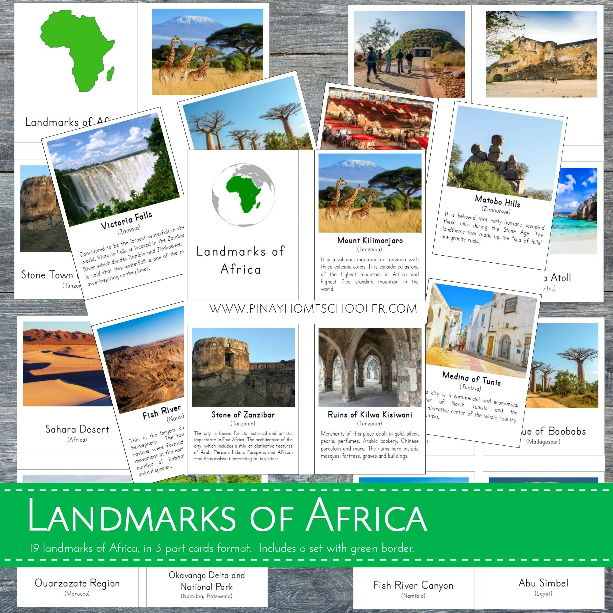 Landmarks of Africa Montessori 3 Part Cards and Fact Cards