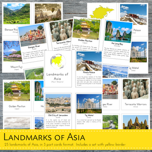 Landmarks of Asia Montessori 3 Part Cards and Fact Cards