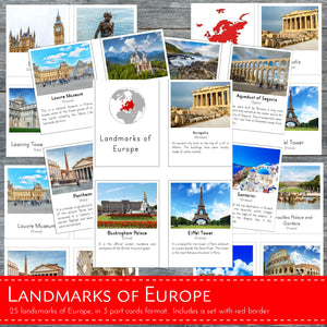 Landmarks of Europe Montessori 3 Part Cards and Fact Cards