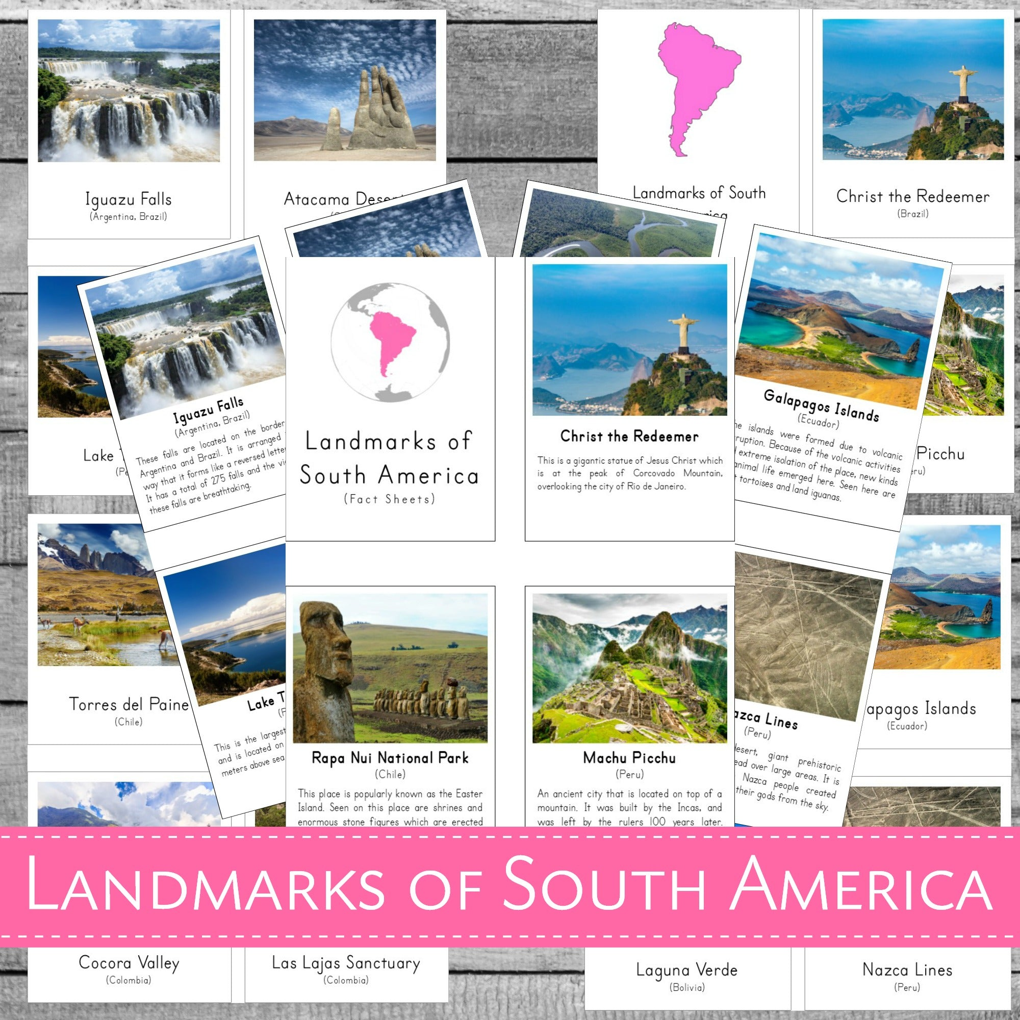 Landmarks of South America Montessori 3 Part Cards and Fact Cards