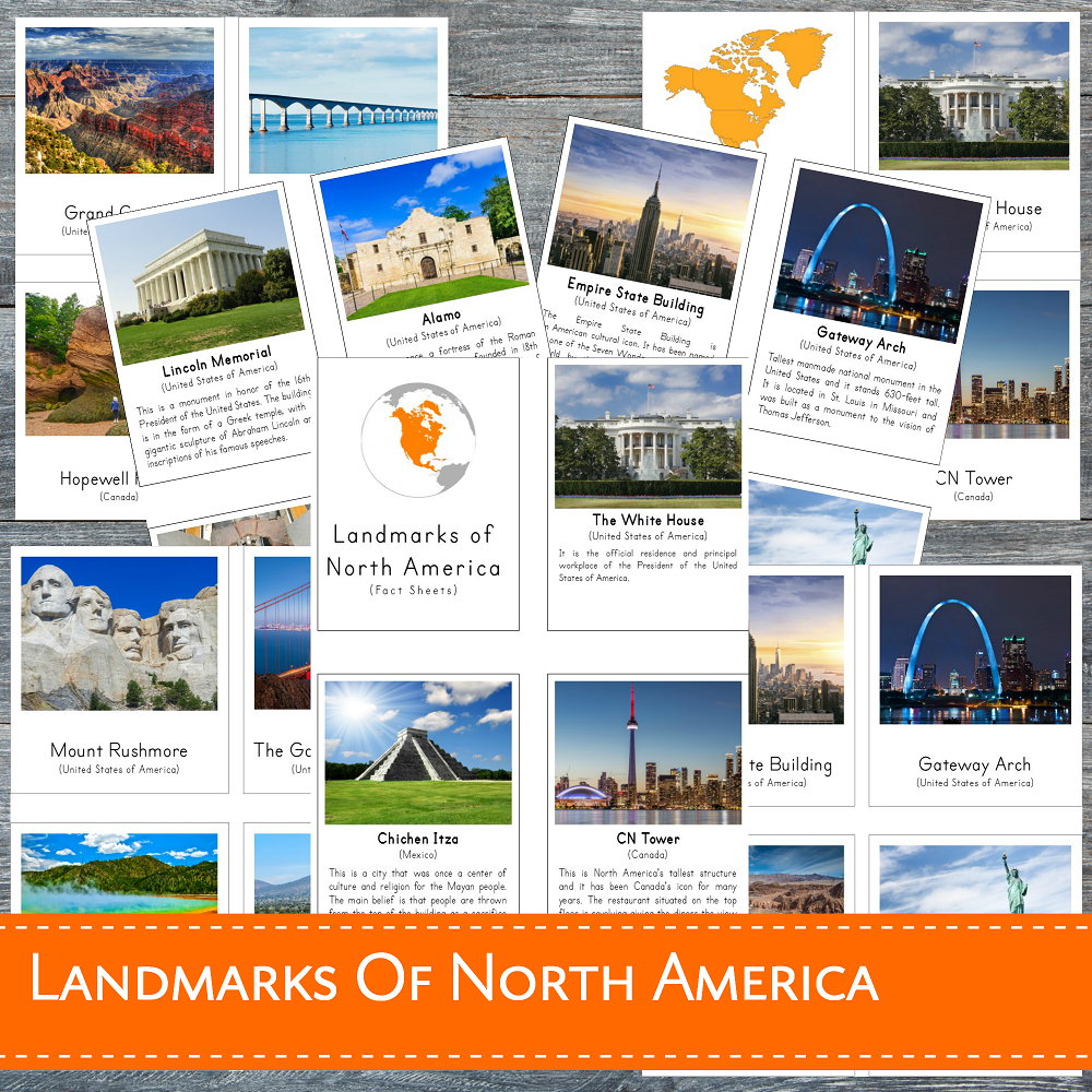 Landmarks of North America Montessori 3 Part Cards and Fact Cards