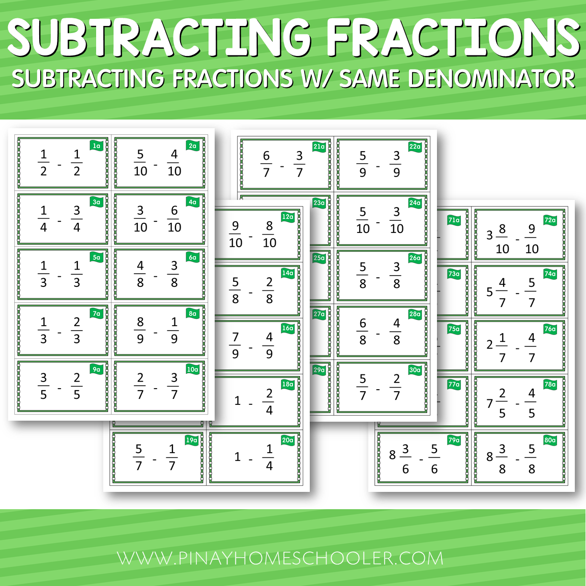 Montessori Subtracting Fractions with Same Denominator Cards