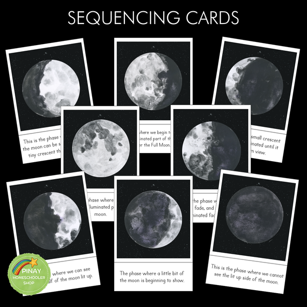 Phases of the Moon Montessori 3 Part Cards