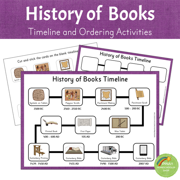 History of Books - Timeline and Ordering Activities
