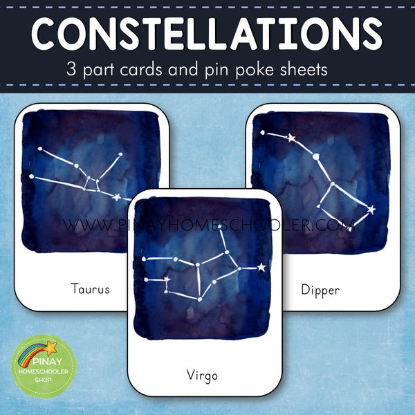 Constellations Montessori 3 Part Cards