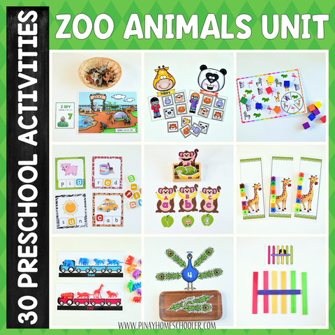Zoo Preschool Math and Literacy Pack