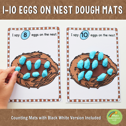 1-10 Eggs on Nest Counting Playdough Mats