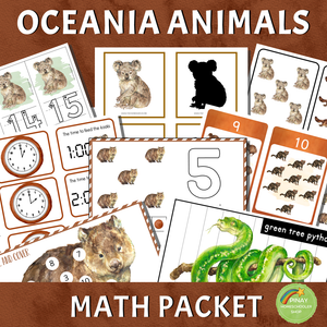 Oceania Australia Animals Math Packet