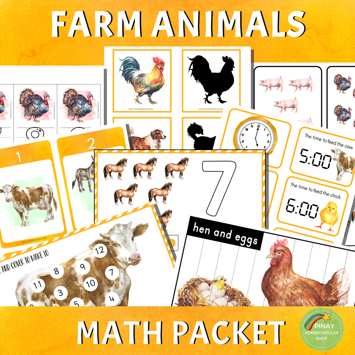 Montessori Farm Animals Math Packet