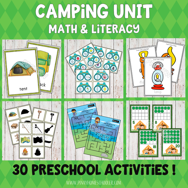 Camping Preschool Kindergarten Unit - Math and Literacy Centers