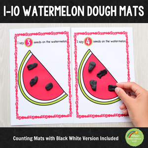 1-10 Watermelon Counting Playdough Mats