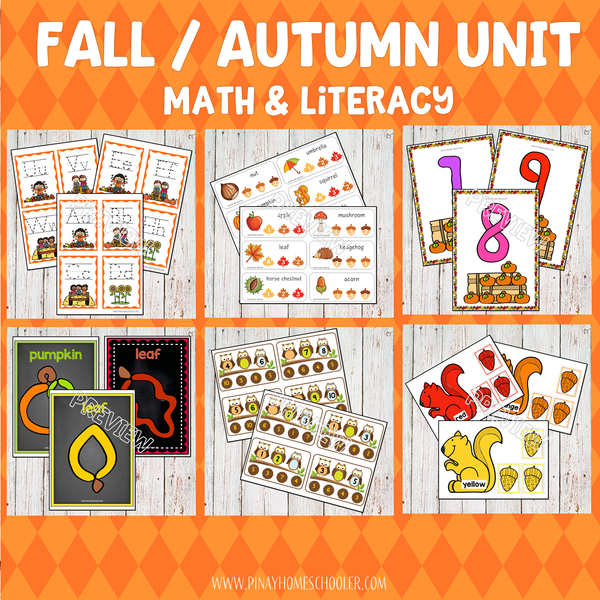 Fall Autumn Preschool Math and Literacy Pack