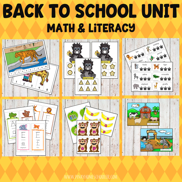 Back to School Preschool Math and Literacy Pack