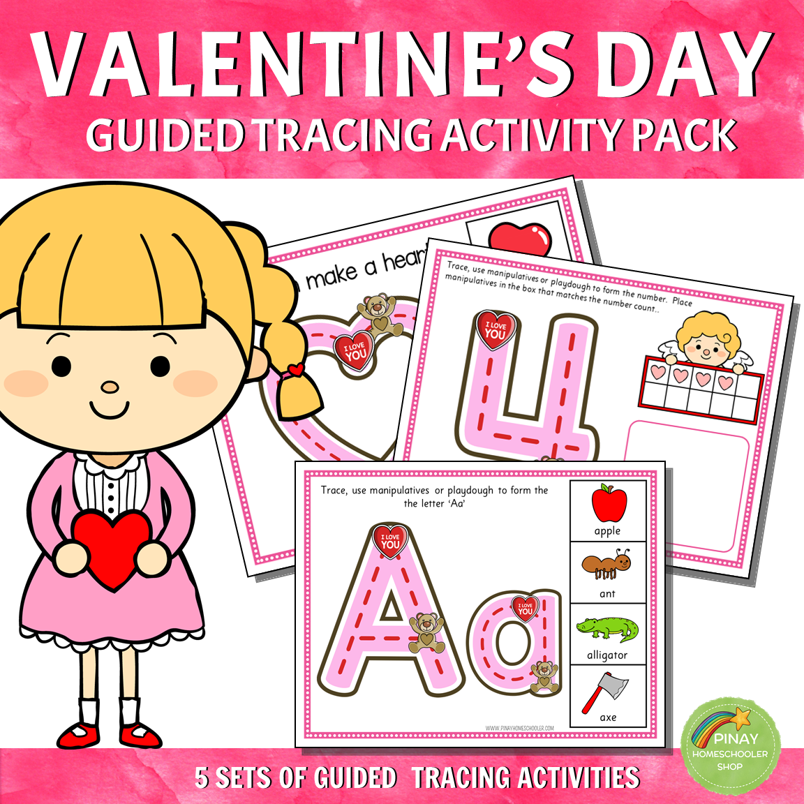 Valentine's Day Guided Tracing Activity Pack