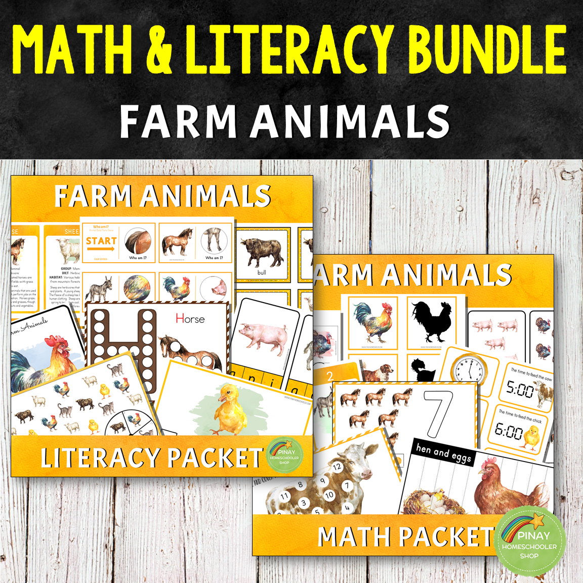 Montessori Farm Animals Math and Literacy Bundle Pack