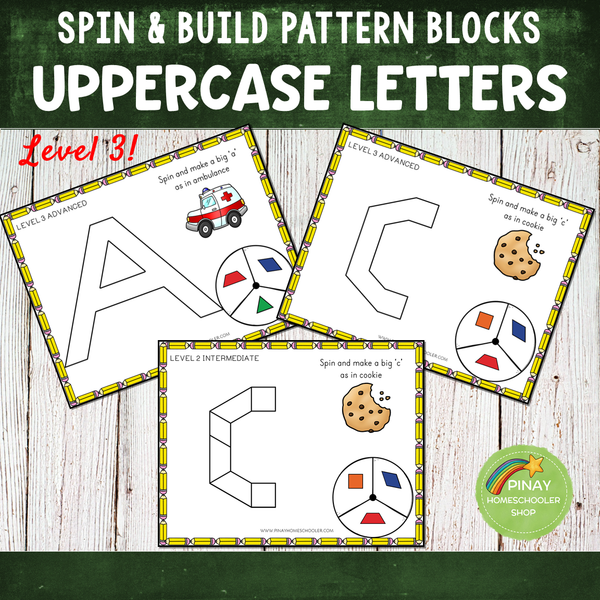 Uppercase Letters Pattern Blocks Spin and Build