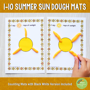 1-10 Sun Playdough Counting Mats