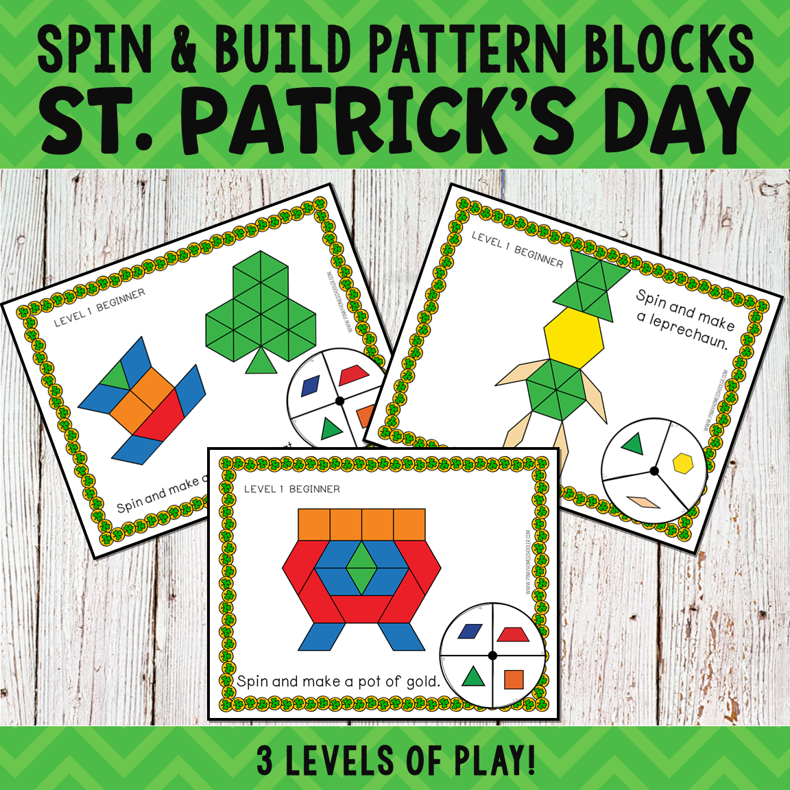 St. Patrick's Day Pattern Blocks Spin and Build