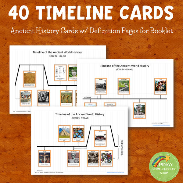 World History: Ancient Times Timeline Cards and Booklet