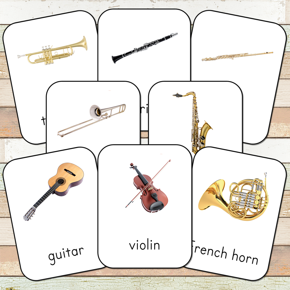 Montessori Musical Instruments 3 Part Cards