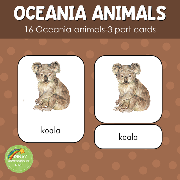Oceania / Australia Animals Montessori 3 Part Cards
