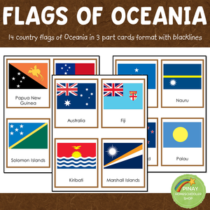 Oceania Australia Flags Montessori 3 Part Cards