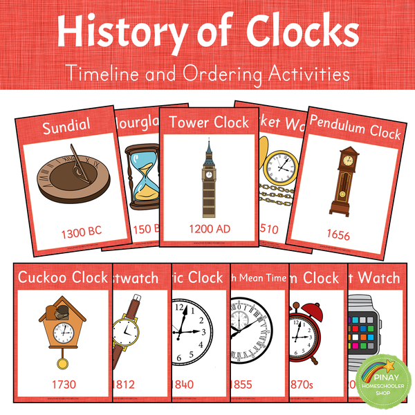 History of Clocks - Timeline and Ordering Activities