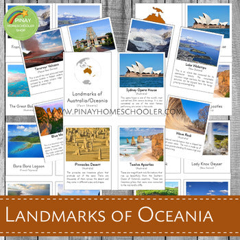 Landmarks of Australia/Oceania Montessori 3 Part Cards and Fact Cards