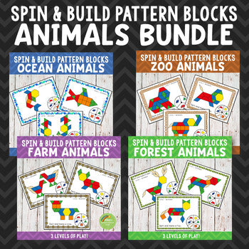 Animal Pattern Blocks Spin and Build BUNDLE