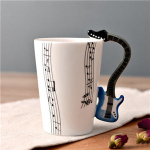 Novelty Guitar Ceramic Cup Personality Music Note Mug