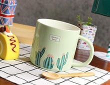 Cactus design Ceramic Coffee Cup With Spoon