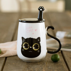 3D Cat Ceramic Mug With Lid and Spoon