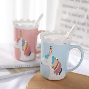 3D Relief Glod Unicorn Coffee Mug with Spoon and Crown Lid