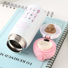 Bouncing Cover Bottle Vacuum Flask with Flamingo Pattern