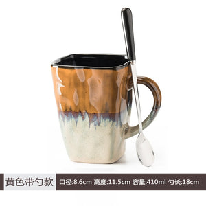 Flow Glaze Coffee Cups With Spoon