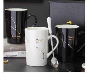 Constellation Theme Coffee Mugs with Gift Box with Lid and Spoon Christmas Gift for Friends