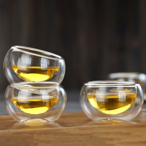6 Pieces/set 50 ml Heat Resistant Double Wall Layer Glass Elegant Tea Cup