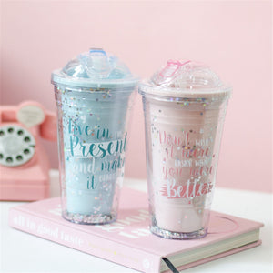 Sequin Star Coffee Mugs With Straw