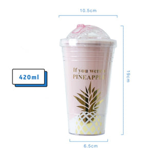 Creative Coffee Mugs Pink Pineapple Pattern Straw Travel Portable