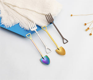 Shovel Shape Stainless Steel Spoon and Fruit Fork For Tea / Coffee / Sugar / Ice Cream