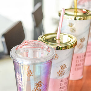 Gold Plating Plastic Double Layer Pineapple Mugs