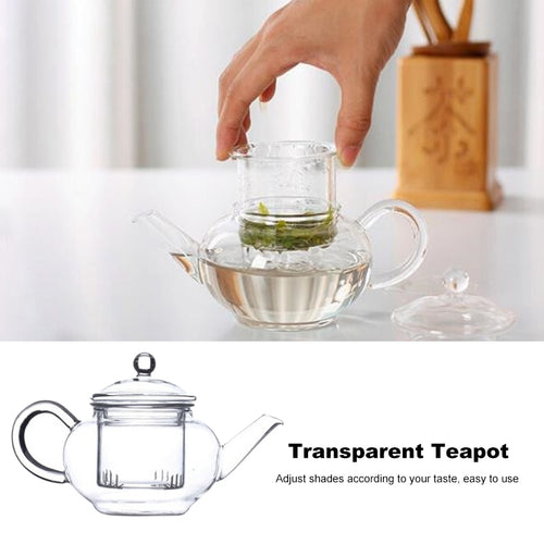 Transparent Heat Resistant Glass Teapot With Chinese Infuser