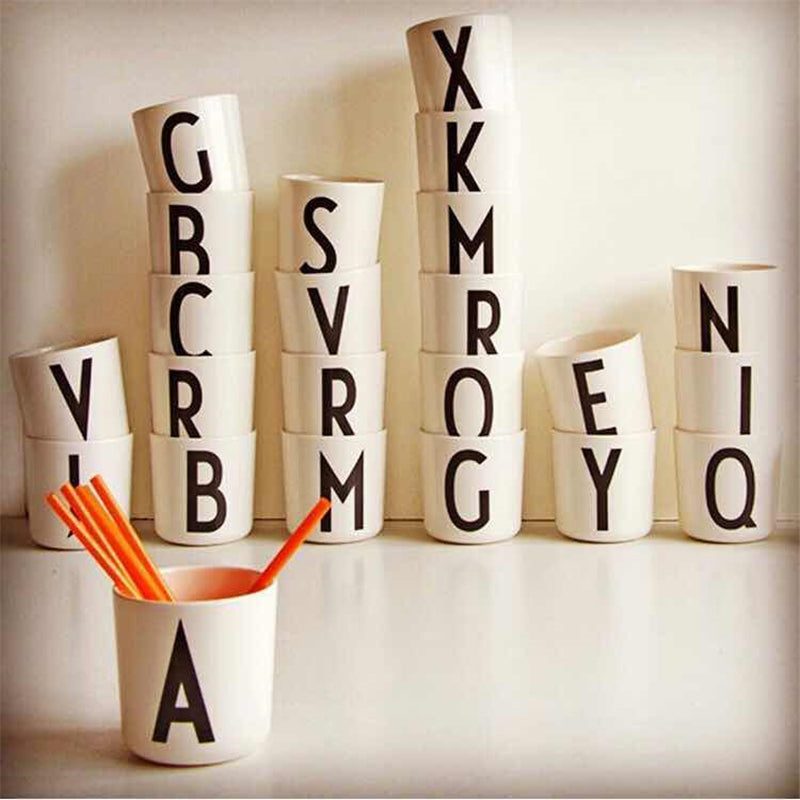 1 Piece Portable Eco-Friendly Wheat Straw Plastic Coffee Cups (Letters A-Z)