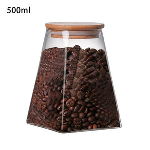 350ml/500ml/750ml/950ml Square Glass Sealed Coffee Storage Jar