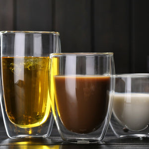 Heat Resistant Double-Wall Insulated Glass Espresso Mugs