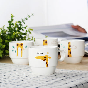 Ceramic Stacking Coffee Mug Set (4 Cups + 1 Cup Holder)