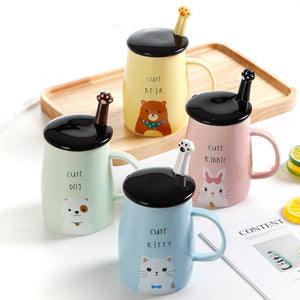 Cartoon Ceramic Mugs With Lid Spoon