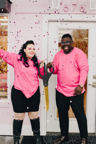 Brianna and Julien Kamga at their store's ribbon butting in sandy utah (salt Lake city) bree maquillage opened march 2, 2019