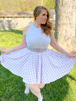 Lavender Grid Skater Skirt - In Stock